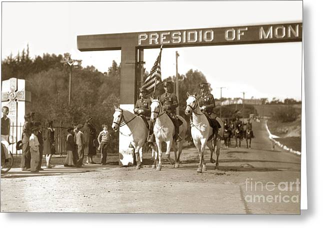 11th Cavalry Coming Down Artillery Street Gate Presidio Of Monterey 1931 Greeting Card by California Views Mr Pat Hathaway Archives