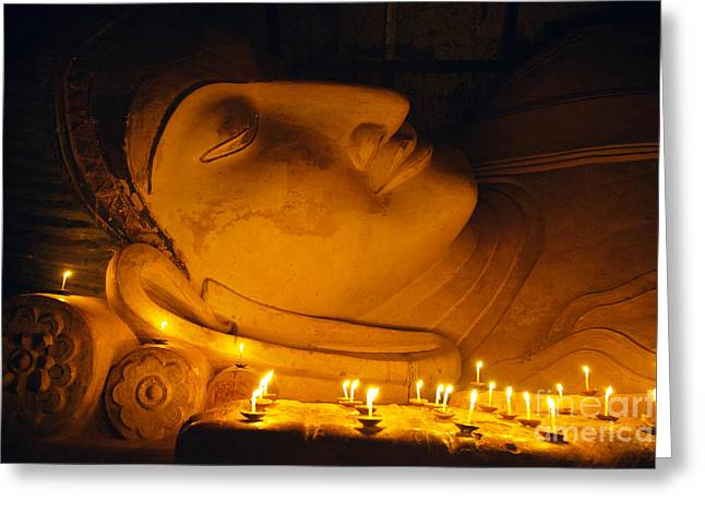 11th Century Reclining Buddha Bagan Greeting Card by Craig Lovell