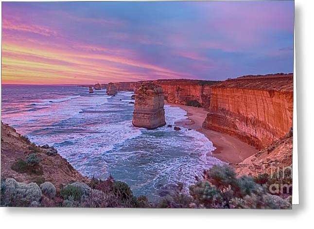 12 Apostles At Sunset Pano Greeting Card