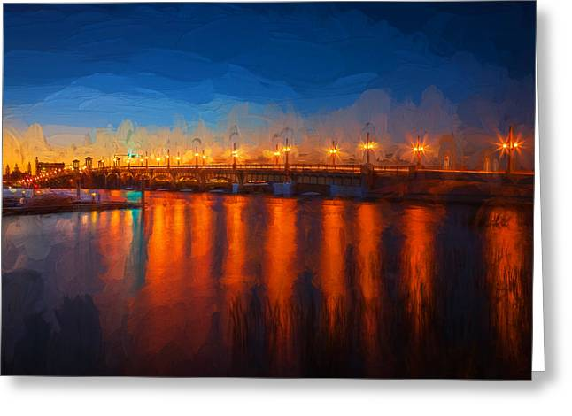Bridge Of Lions St Augustine Florida Painted Greeting Card