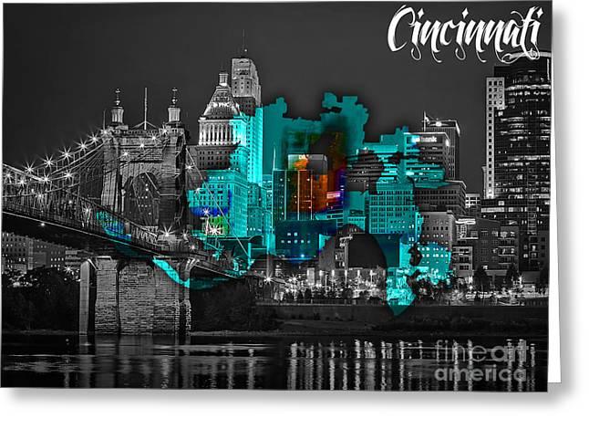 Cincinnati Map And Skyline Watercolor Greeting Card