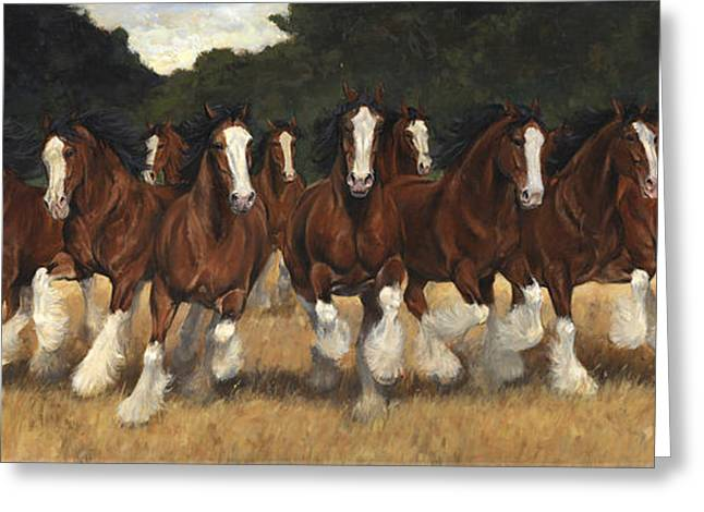 12 Clydesdales Running Greeting Card by Don  Langeneckert