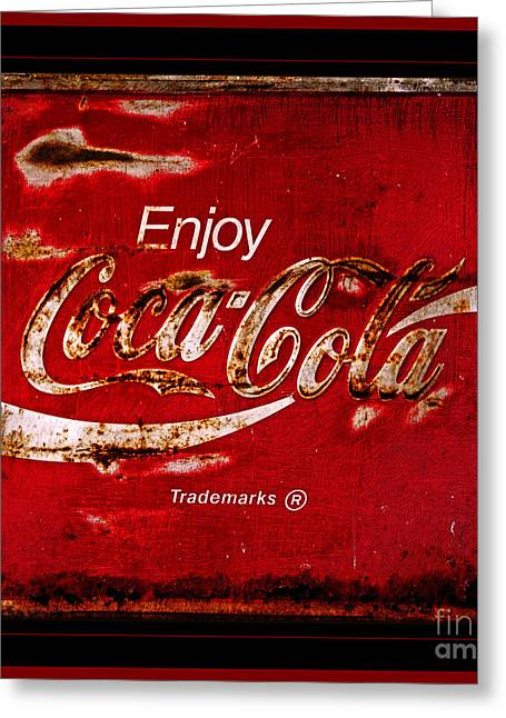 Coca Cola Classic Vintage Rusty Sign Greeting Card by John Stephens