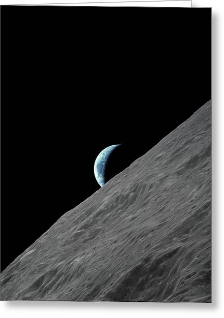 Earthrise Over The Moon Greeting Card