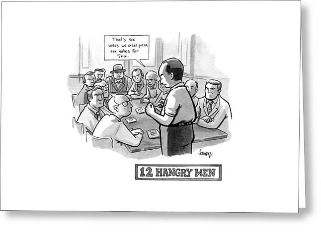 12 Hangry Men - Jury Room Greeting Card by Benjamin Schwartz
