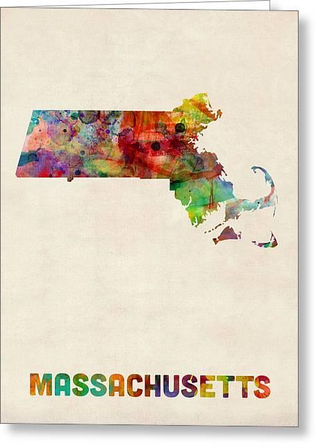 Massachusetts Watercolor Map Greeting Card by Michael Tompsett