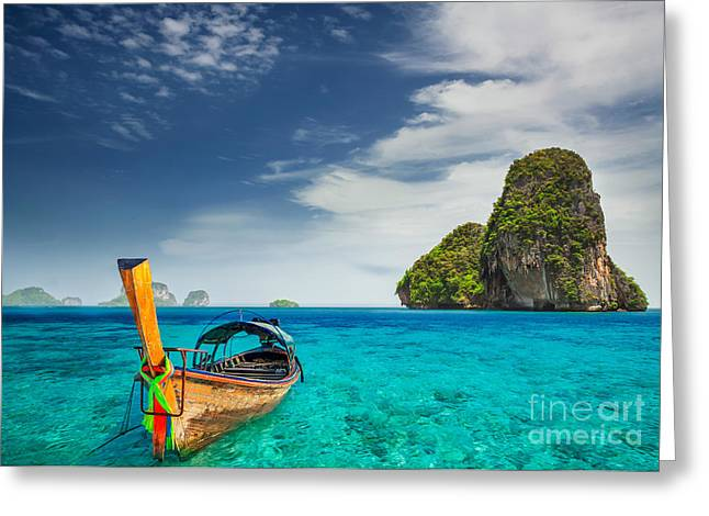 Railay Beach Greeting Card by Anek Suwannaphoom