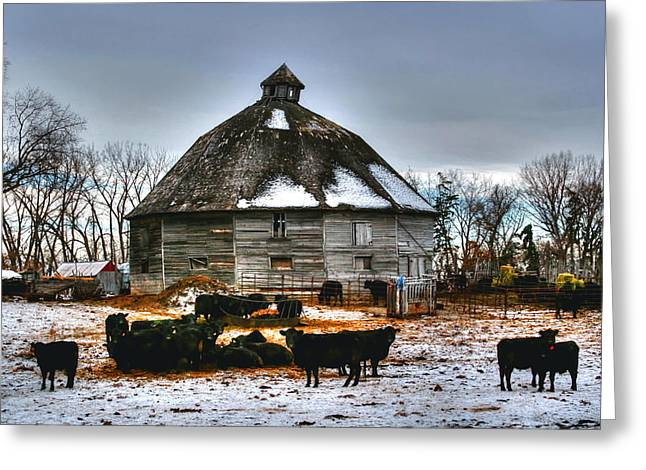 Greeting Card featuring the photograph 12 Sided Barn by Larry Trupp