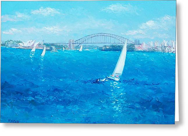 Sydney Harbour Sail Boats And The Opera House By Jan Matson Greeting Card