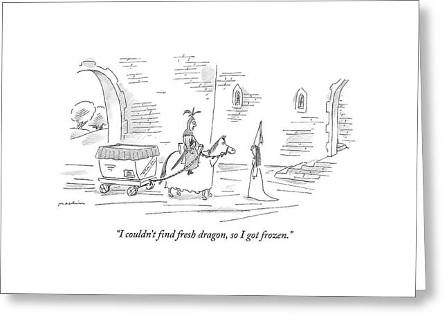 I Couldn't Find Fresh Dragon Greeting Card by Michael Maslin