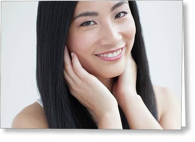 Woman Smiling Greeting Card