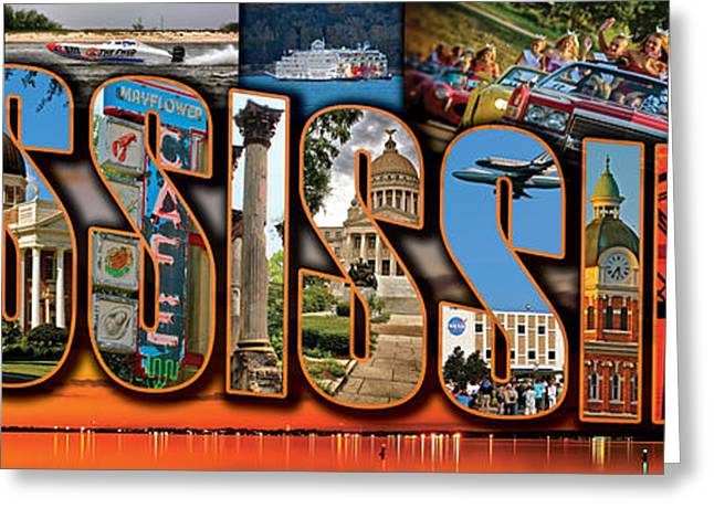12 X 36 Horizontal Mississippi Postcard Version 1 Greeting Card