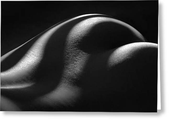 1220 Zebra Striped Nude Back And Bottom Fine Art Bw Nude 1 To 3 Ratio Greeting Card by Chris Maher