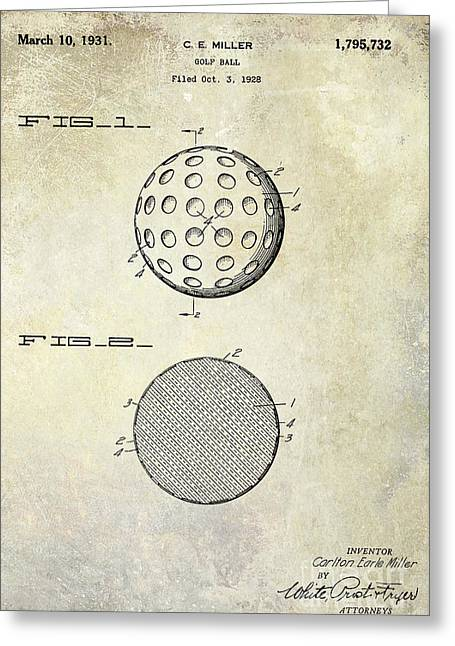 1931 Golf Ball Patent Drawing Greeting Card by Jon Neidert