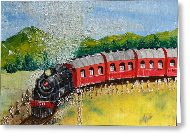 1271 Steam Engine Greeting Card by Denise Tomasura
