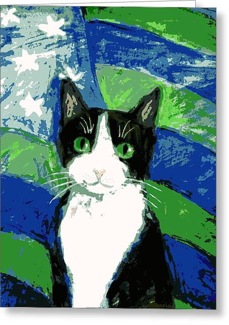 Cat With Stars And Stripes Greeting Card