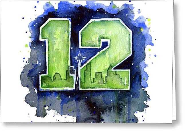 12th Man Seahawks Art Seattle Go Hawks Greeting Card