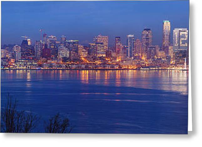 12th Man Seattle Skyline Reflection Greeting Card by Mike Reid