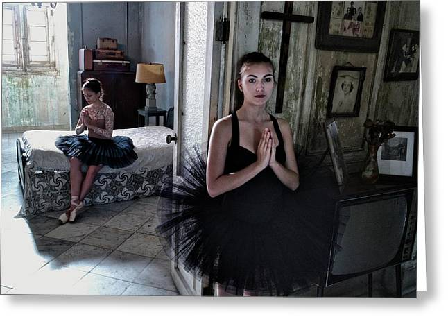 Ballerinas In Cuba Greeting Card by Kike Calvo