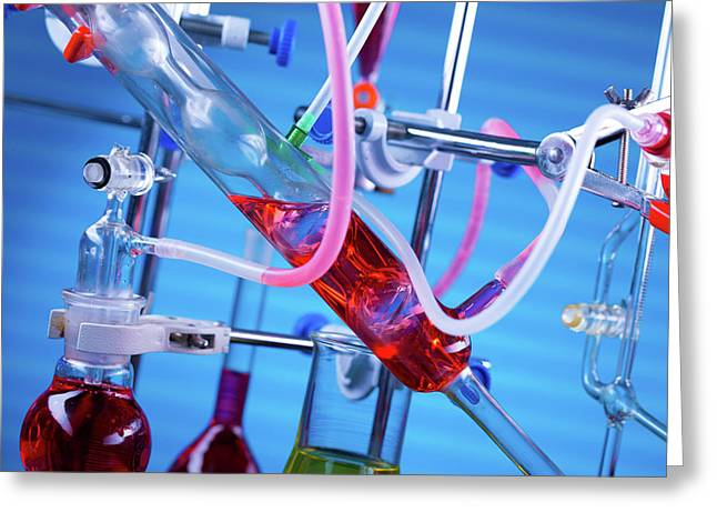 Chemistry Experiment In Lab Greeting Card by Wladimir Bulgar
