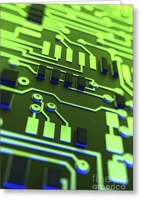 Circuit Board Greeting Card by Science Picture Co