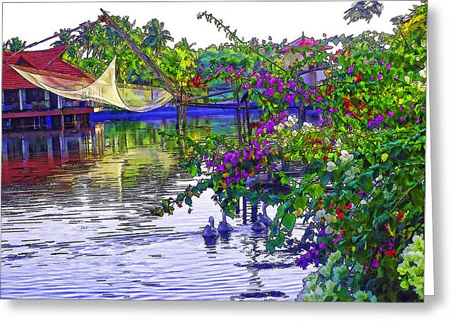 Ducks And Flowers In Lagoon Water Greeting Card by Ashish Agarwal