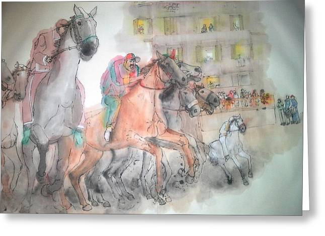 Italian Il Palio Horse Race Album Greeting Card by Debbi Saccomanno Chan