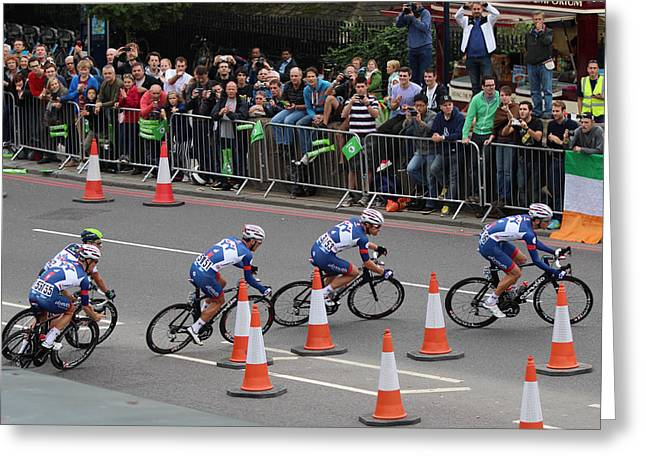 London Uk 22nd September 2013. The Tour Of Britain Cycling Race  Greeting Card