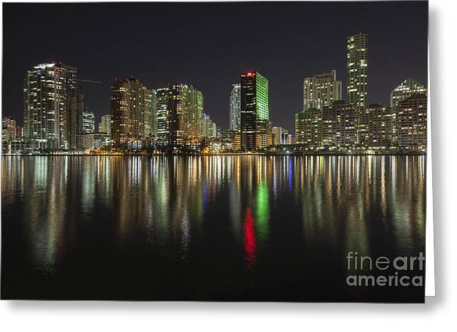 Miami Greeting Card by Juan  Silva