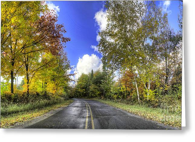 13 Mile Road In Pierport In Fall Greeting Card by Twenty Two North Photography