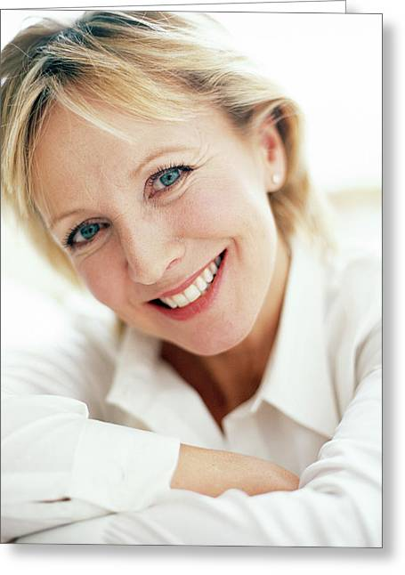 Smiling Woman Greeting Card by Ian Hooton/science Photo Library