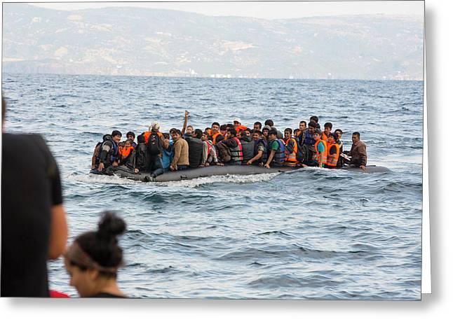 Syrian Refugees Arriving On Greek Island Greeting Card