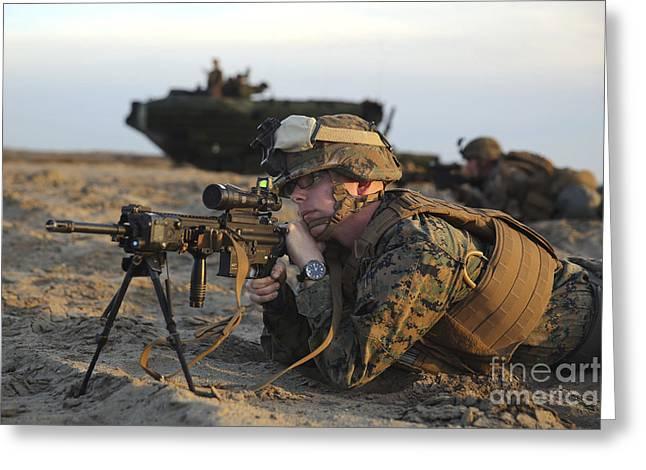 U.s. Marine Provides Security Greeting Card