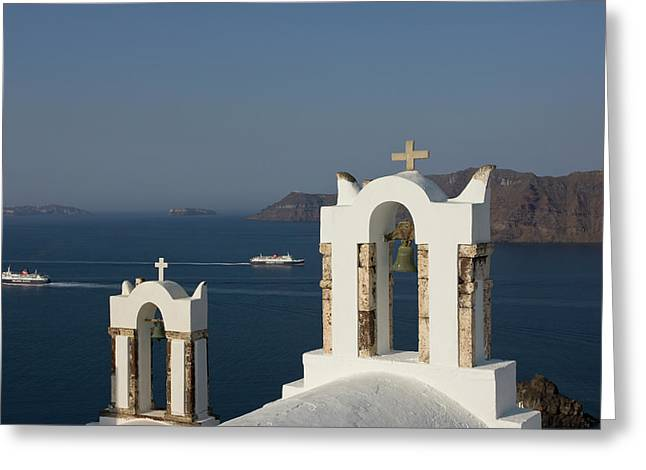 Greece, Santorini, Thira, Oia Greeting Card by Jaynes Gallery