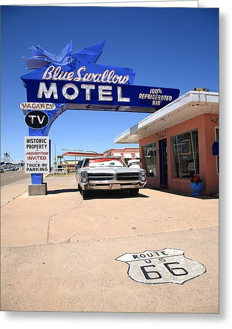 Route 66 - Blue Swallow Motel Greeting Card by Frank Romeo
