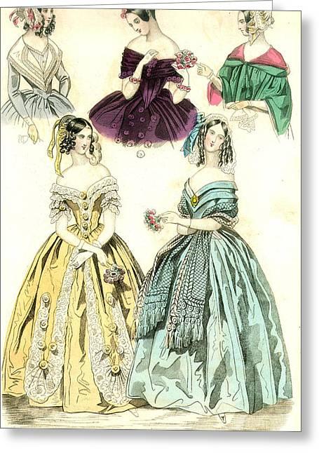 Women's Fashion, 1842 Greeting Card by Granger