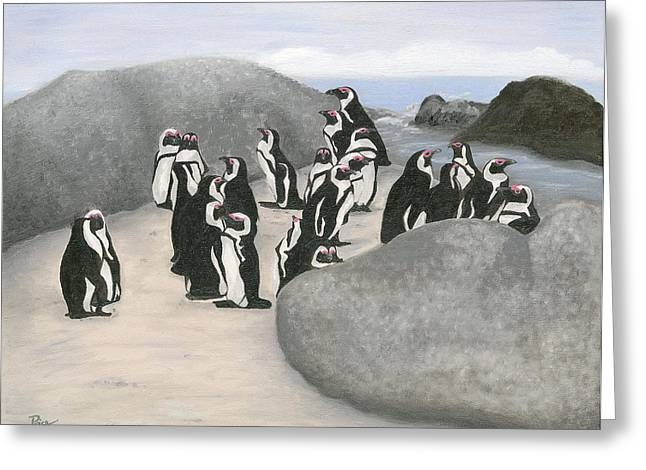 140402 Penguins South Africa Greeting Card