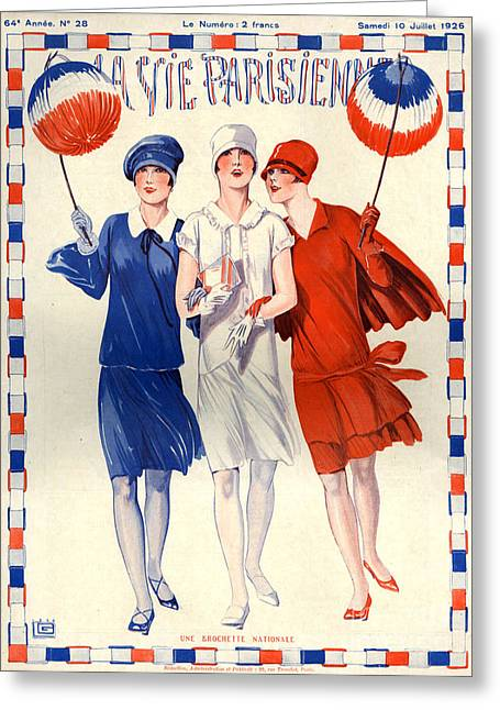 1920s France La Vie Parisienne Magazine Greeting Card by The Advertising Archives