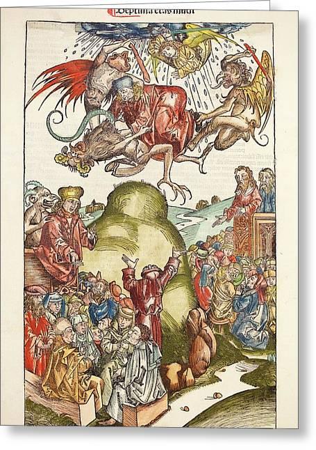 1493 Nuremberg Chronicle Simon The Magus Greeting Card by Paul D Stewart