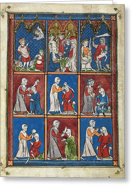 14th Century Religious Manuscript Greeting Card by British Library