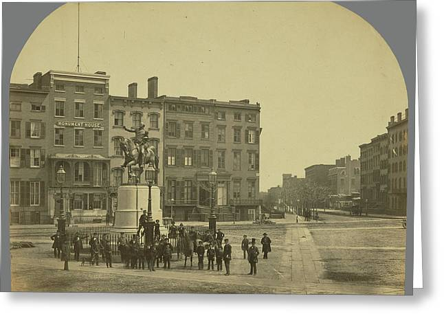 14th Street With Union Square And Washington Monument Greeting Card by Litz Collection