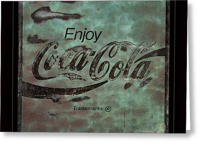 Coca Cola Sign Grungy Retro Style Greeting Card by John Stephens