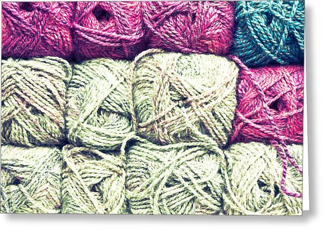 Balls Of Wool Greeting Card by Tom Gowanlock