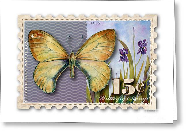 15 Cent Butterfly Stamp Greeting Card by Amy Kirkpatrick