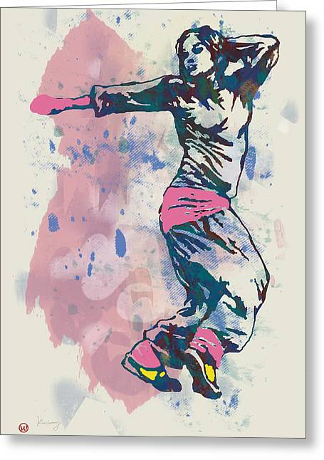 Hip Hop Street Dancing  Pop Stylised Art Poster Greeting Card by Kim Wang