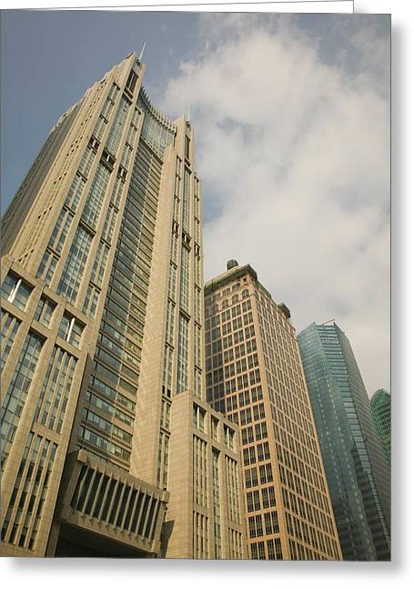 Low Angle View Of Skyscrapers Greeting Card by Panoramic Images