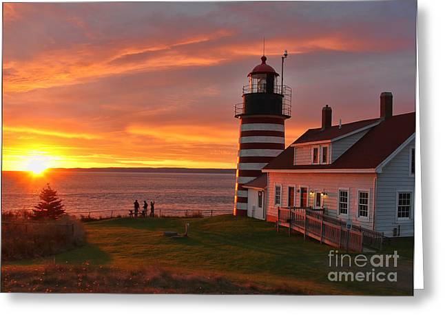 West Quoddy Head Lighthouse Greeting Card by Jack Schultz