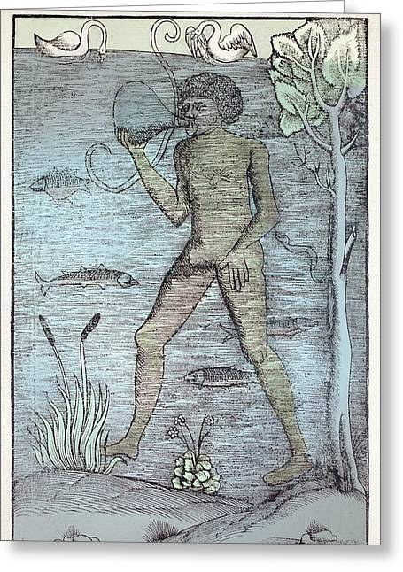 1532 A Medieval Diver Bladder Aqualung Greeting Card