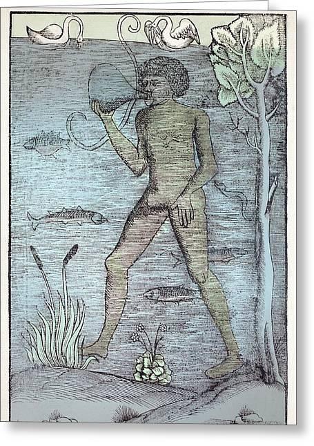 1532 A Medieval Diver Bladder Aqualung Greeting Card by Paul D Stewart