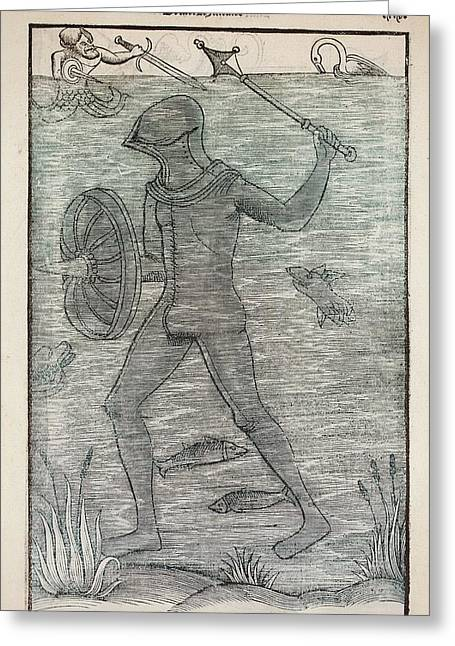 1532 A Medieval Diving Suit Vegetalius Greeting Card